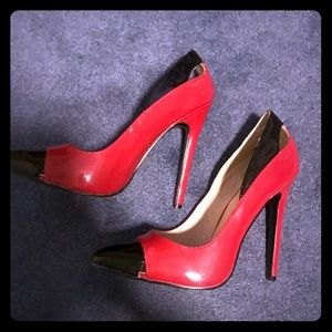 Pleaser red and black high heels